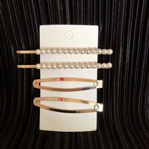 Pearl hair pins and barrette set